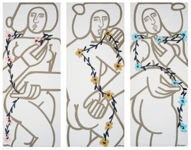 Three Women with Vines (Triptych)