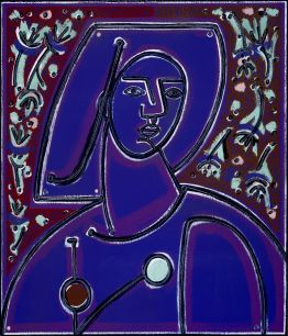Woman in Blues and Purples