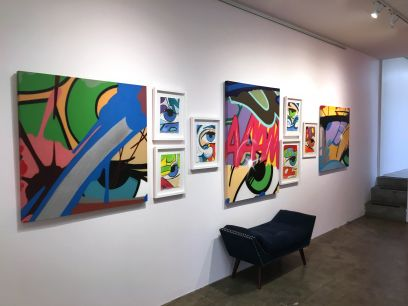 Assorted works on Canvas and Paper (install)