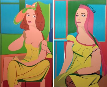 Seated Woman & Queen of Hearts (de Kooning), Diptych