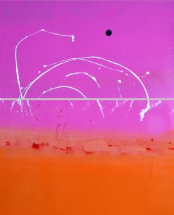 Super Pink Sky Above Orange with Lovely White Squiggles and a Brilliant Blue Blob Painting Diptych