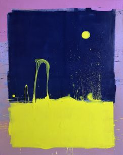 Dark Blue Sky with Yellow Moon Blob Painting