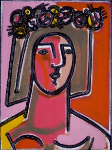 Woman with Flower and Wreath in Hair