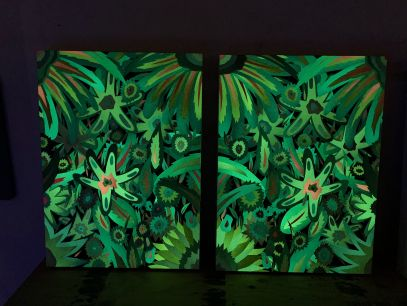 Neon Flowers, Diptych (Glow in the Dark)